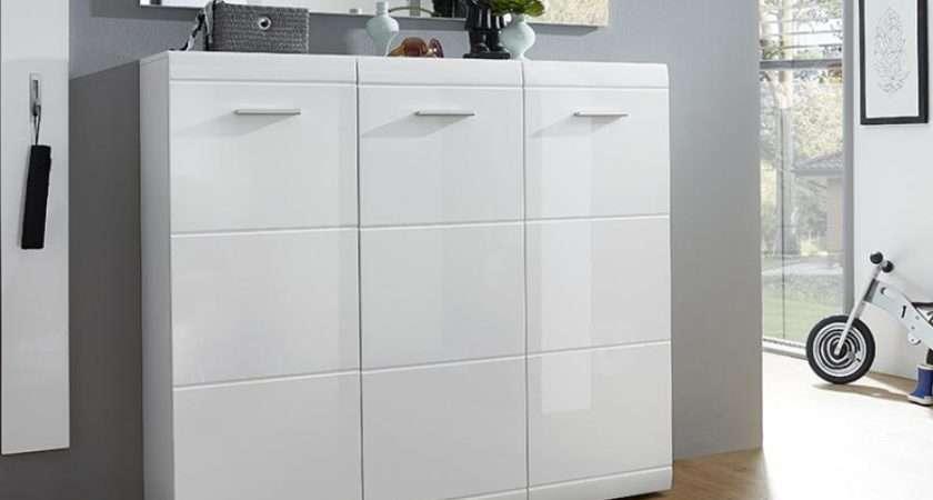 Adana Shoe Cabinet White High Gloss Modern Hall Furniture