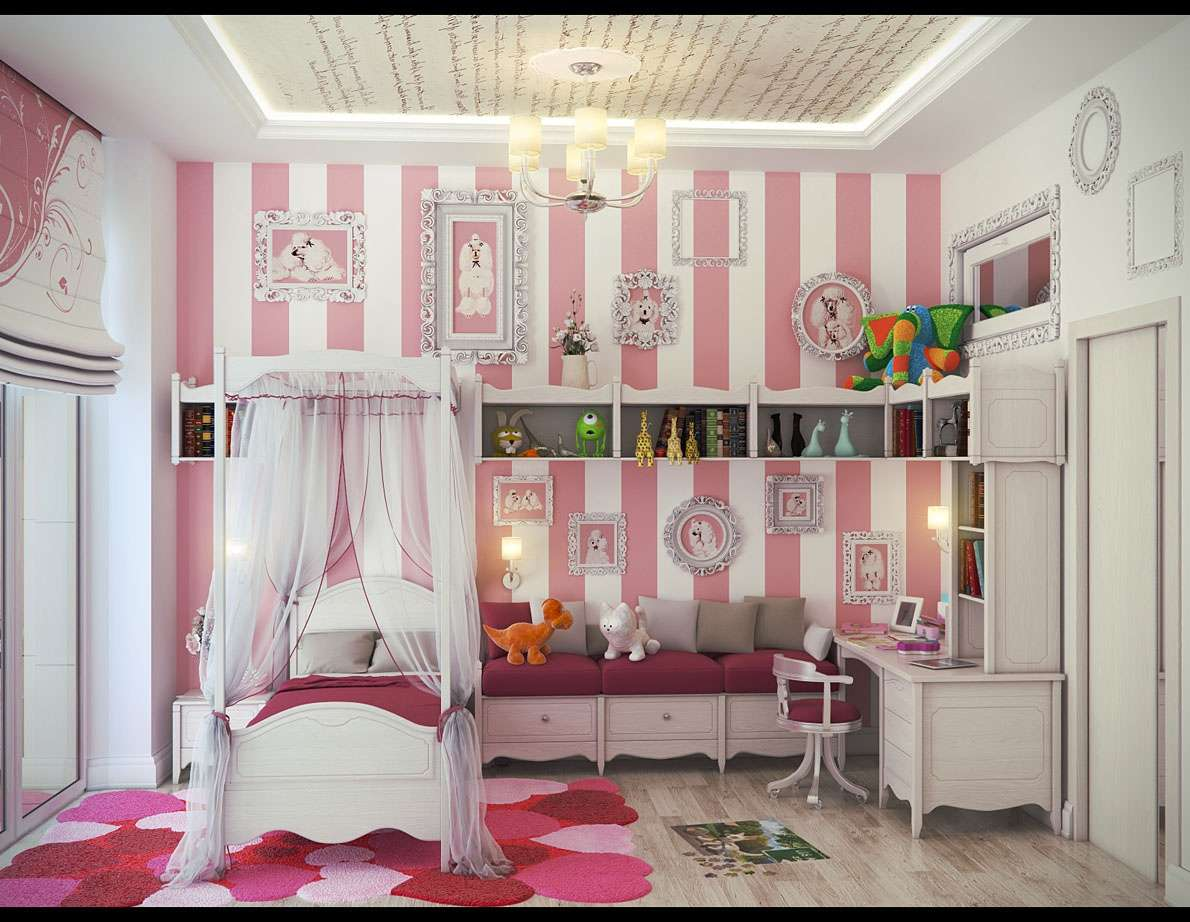 After Glance Girly White Pink Striped Wall Girl Bedroom Decor