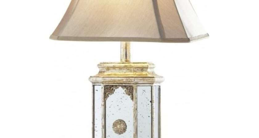 Aged Mirror Glass Table Lamp Antique Gold Detail