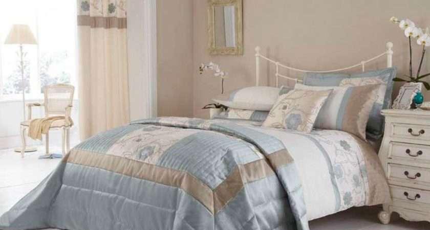 Alicia Duck Egg Cream Beige Bedspread Comforter