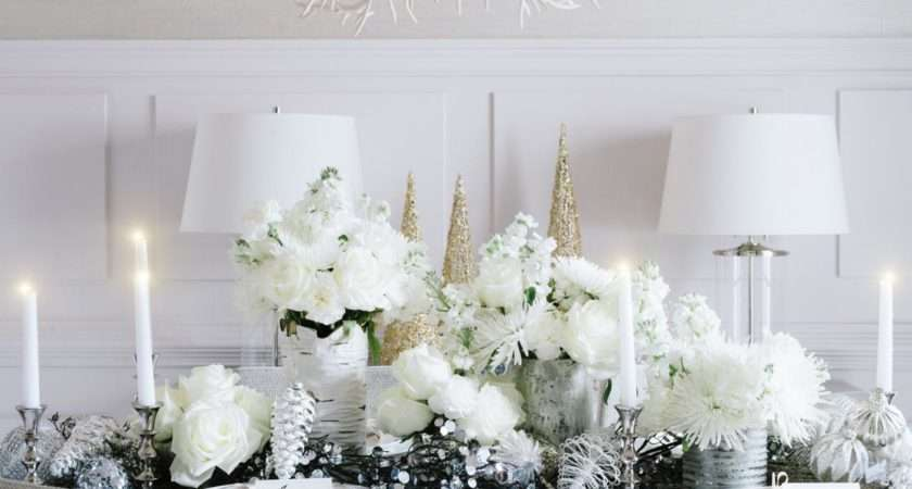 All White Holiday Dinner Party Decorated Solely Shades