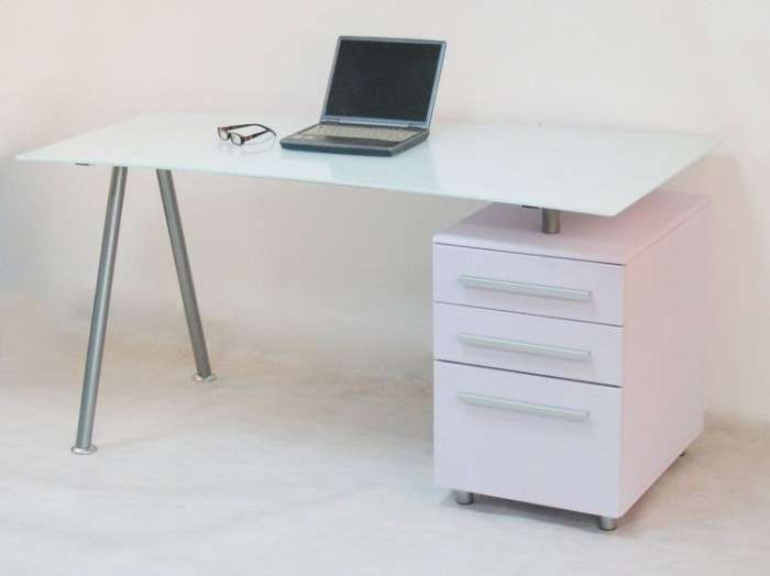 Alphason Cleveland White Glass Desk