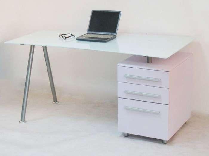 Alphason Cleveland White Glass Desk