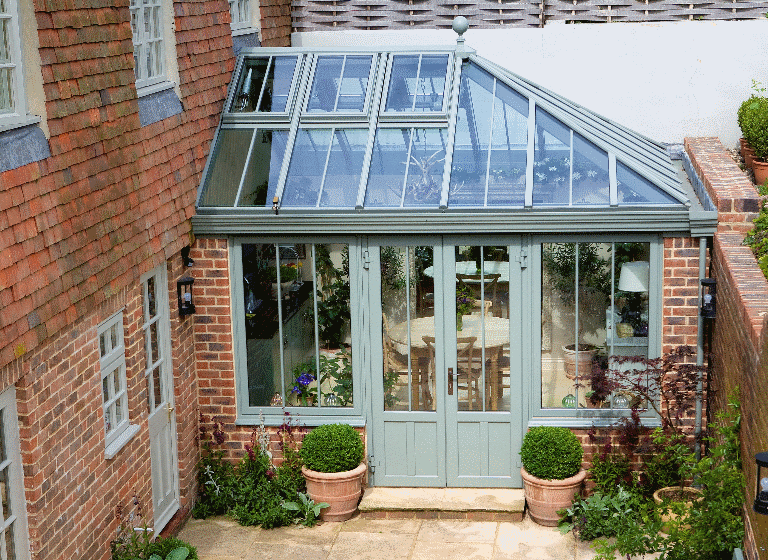 Aluminium Conservatory Hipped Roof Listed Georgian Cottage