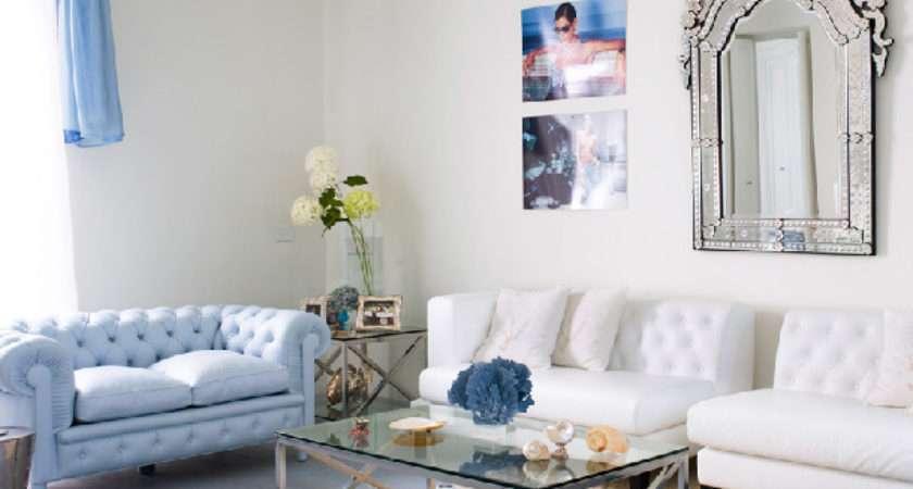 Amazing Light Blue White Living Room