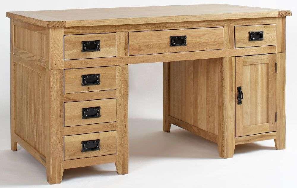Ametis Westbury Reclaimed Oak Desk Double Pedestal Cfs