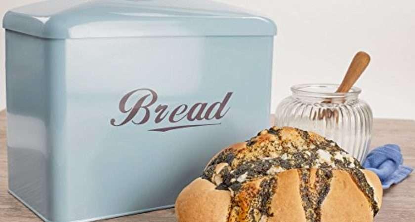 Andrew James Vintage Style Bread Bin Duck Egg Blue