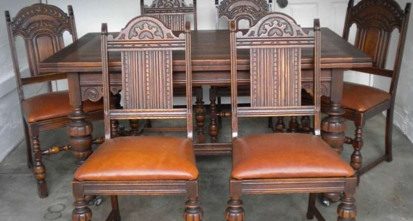 Antique English Oak Dining Table Chairs Leather Bottoms