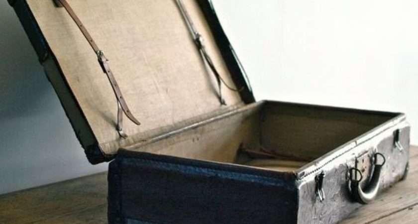 Antique Faux Leather Suitcase