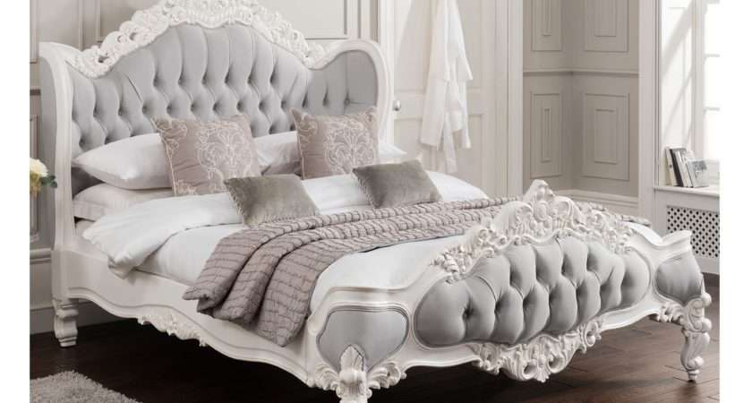 Antique French Style Bed Shabby Chic Fabric Beds