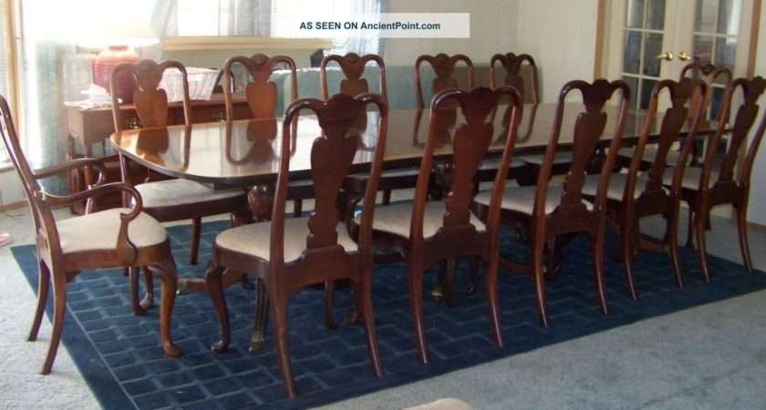 Antique Mahogany Pedestal Dining Room Table Chairs Post