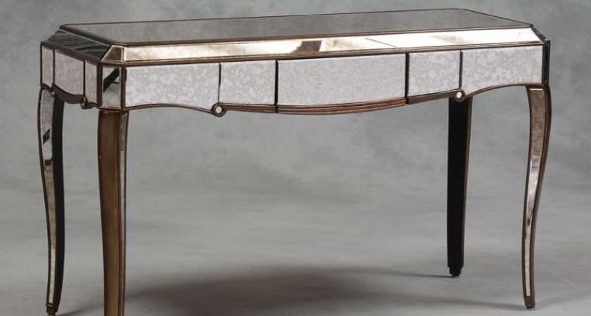 Antique Mirror Glass Console Table Gold Edging