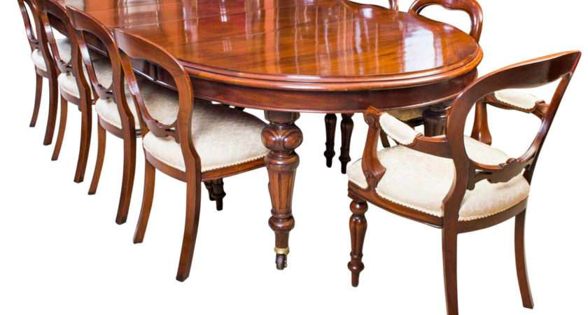 Antique Victorian Dining Table Ten Chairs Circa