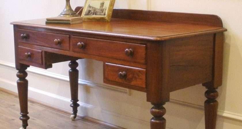 Antique Victorian English Mahogany Desk Sofa Table