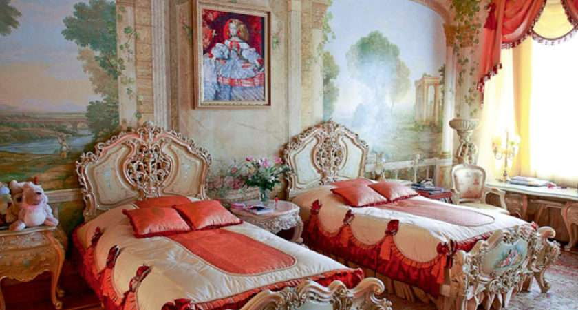 Apartments Luxurious Large Bedroom Combined Red Gold Colors