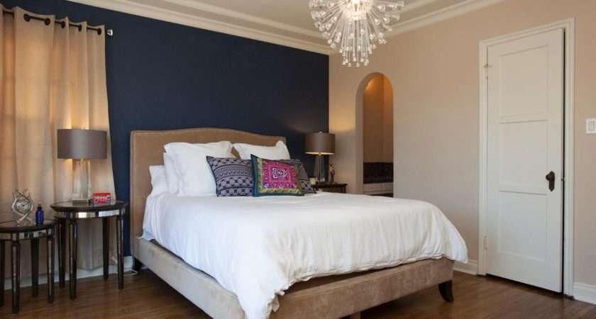 Appealing Navy Blue Cream Accents Wall Color