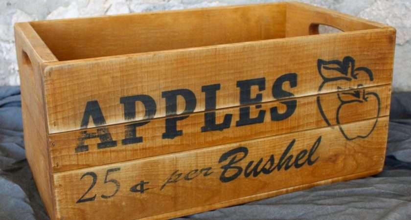 Apple Crate Wood Box Storage Vintage Style Kitchen