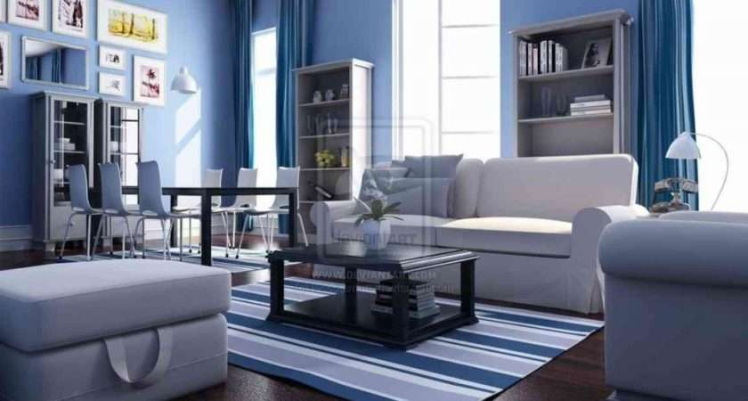 Apply Blue Color Cool Living Room Interior