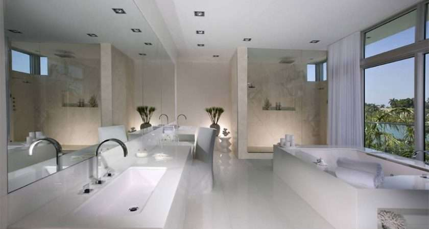 Architecture Clean Large White Bathroom Completed Bathtub