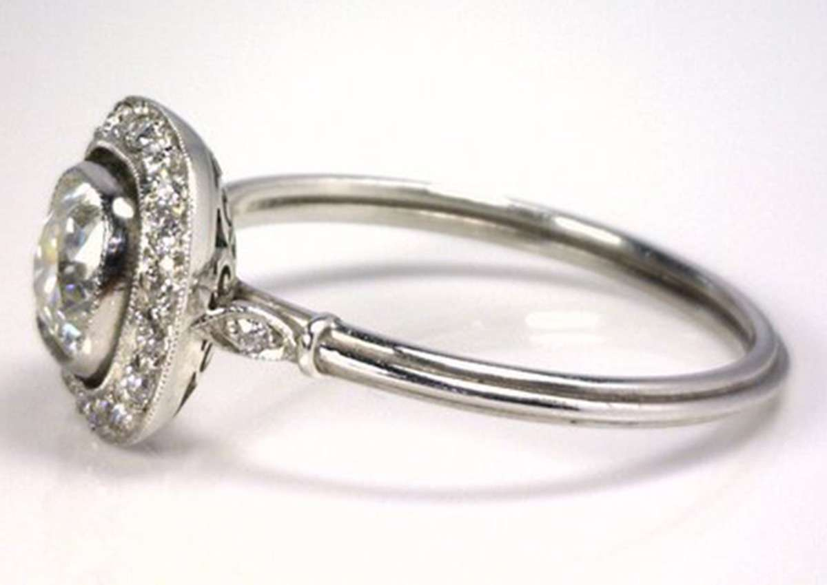 Art Deco Cushion Cut Diamond Platinum Ring Stdibs