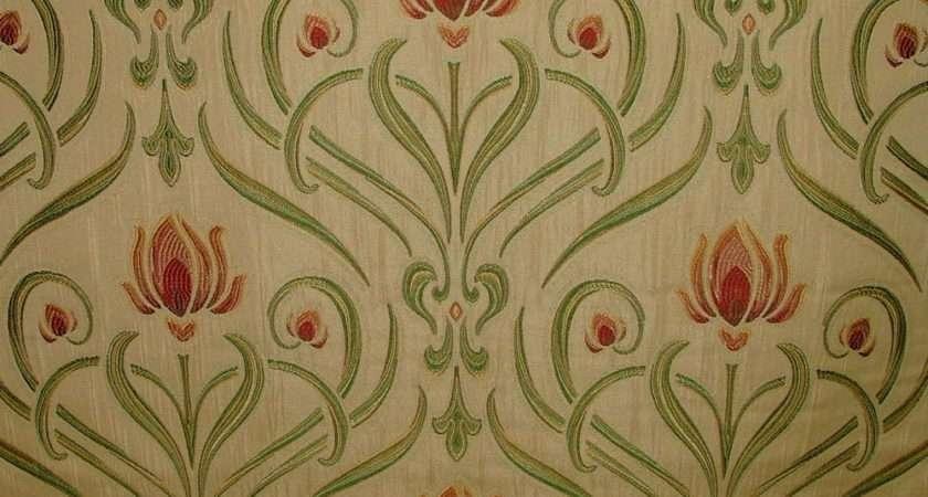 Art Nouveau Tiffany Soft Gold Thick Designer Jacquard Curtain