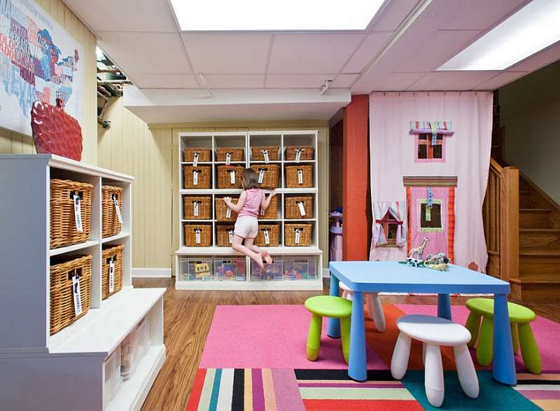 Awesome Basement Playroom Ample Storage Space
