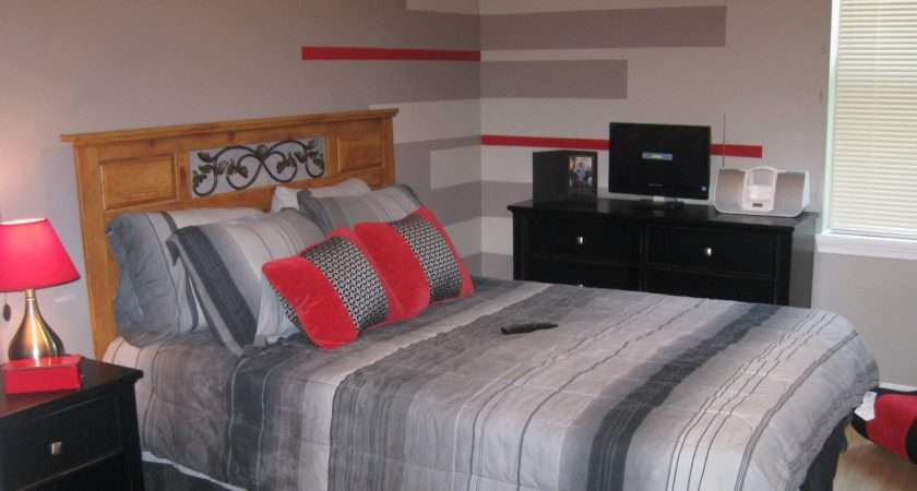 Awesome Boys Bedroom Ideas Red Grey Stripes