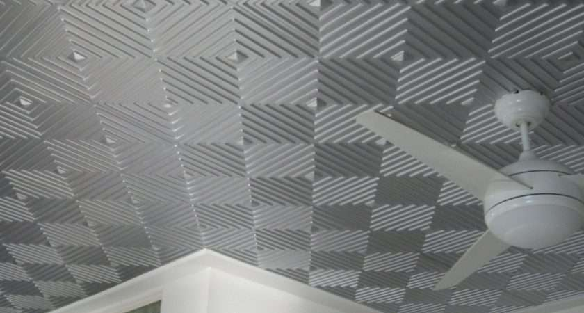 Awesome Gray Silver Ceiling Tile Idea Cool Geometric Stripes