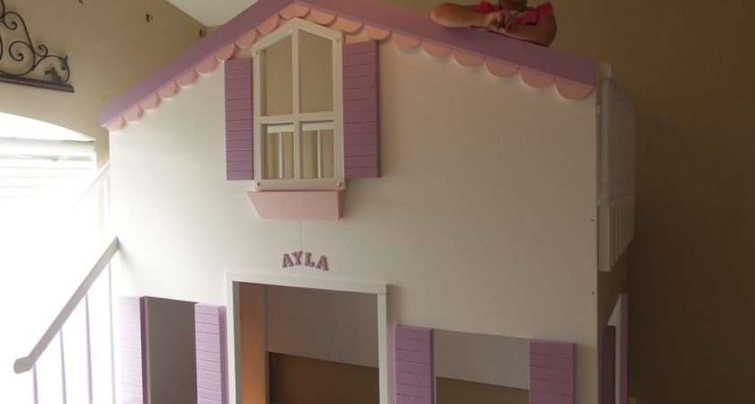 Ayla Cottage Bunk Loft Bed Dress Cubbie Playhouse Accent Light