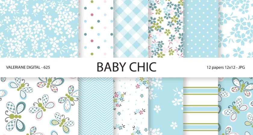 Baby Shabby Chic Digital Paper Pack Blue
