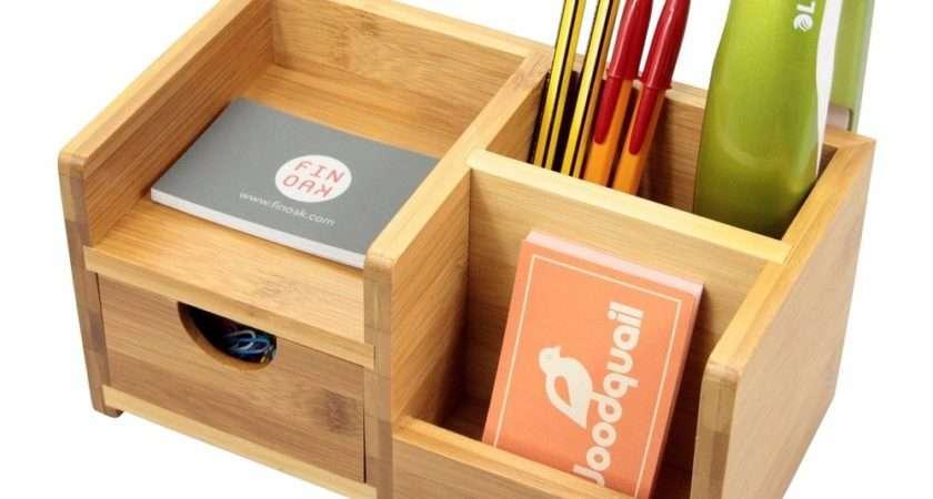 Bamboo Desk Organiser Pen Holder Drawer Tidy