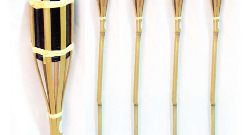Bamboo Torch Tiki Tropical Decor Luau Party Garden Light