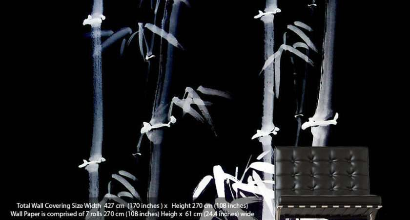 Bamboo White Black Modern Printed Wall Paper