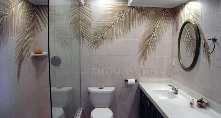Bath Shower Designs Tile Murals Coconut Tree
