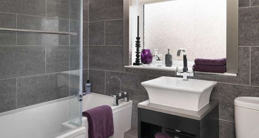 Bathroom Grey Tile Part Design
