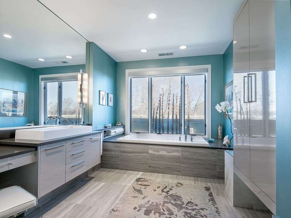 Bathroom Has Smooth Lined Cabinetry Appliances Bold Blue