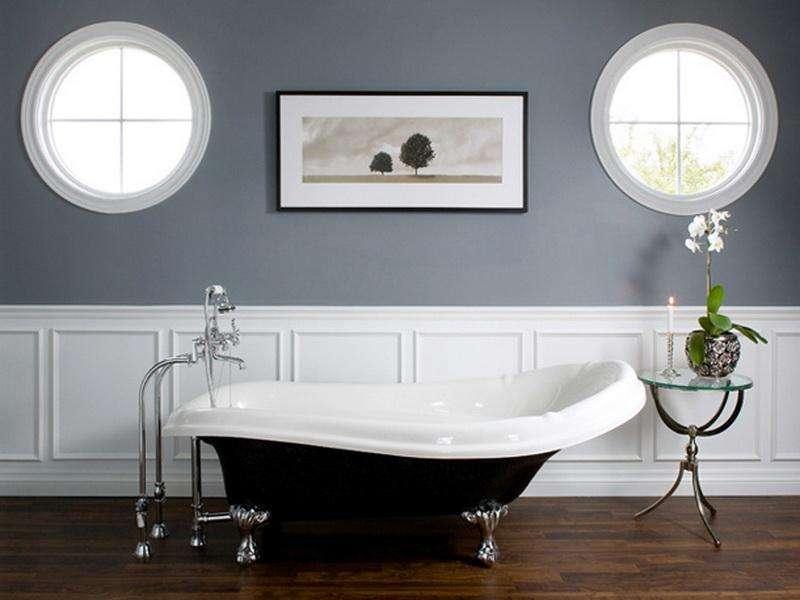 Bathroom Install Wainscoting Gray