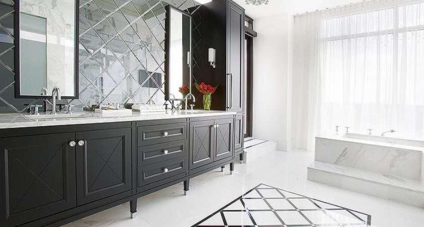 Bathroom Mirror Diamond Pattern Mirrored Backsplash Tall