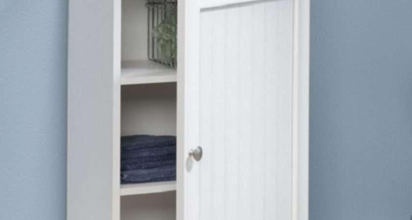 Bathroom Storage Cabinet White Toilet Organizer Shelf
