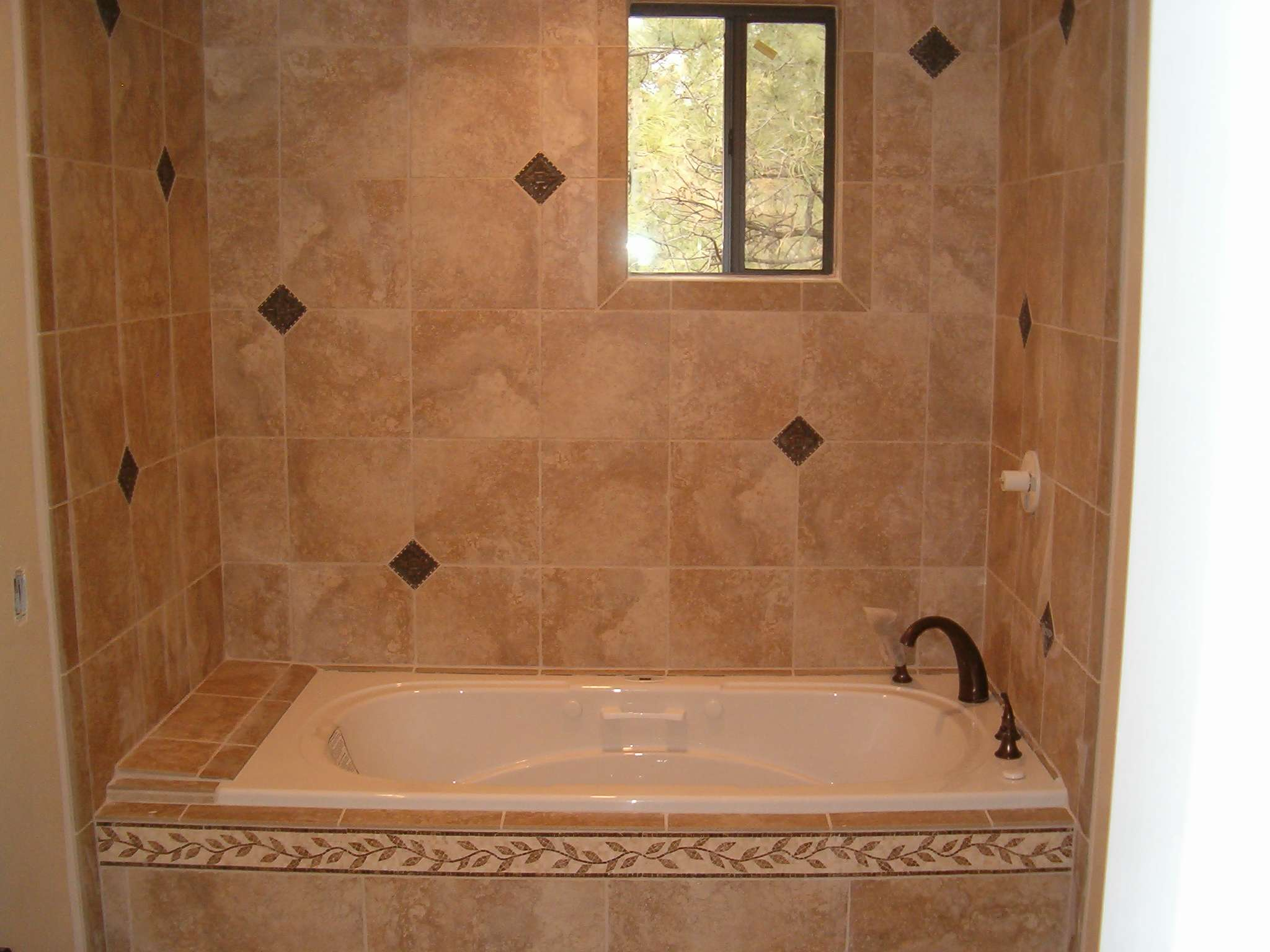 Bathroom Tub Diamond Tile Wall All Around Floorings