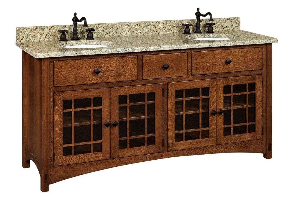 Bathroom Vanity Standing Sink Cabinet Granite Top Solid Wood