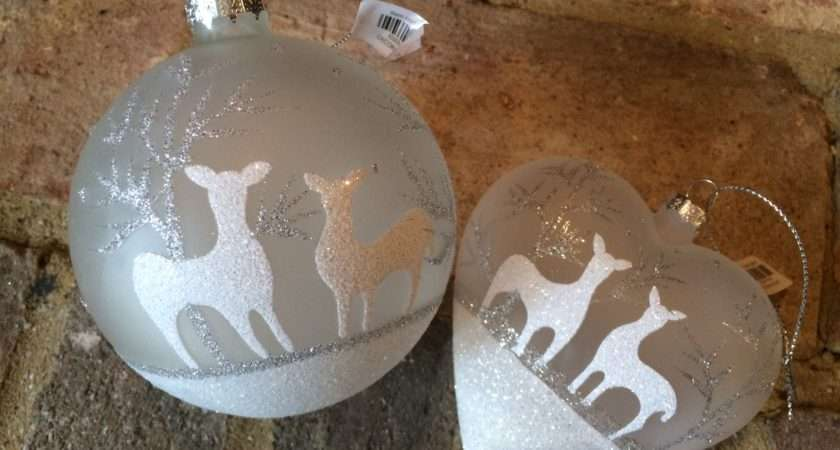 Bauble Pair Large Silver White Christmas Tree Decorations