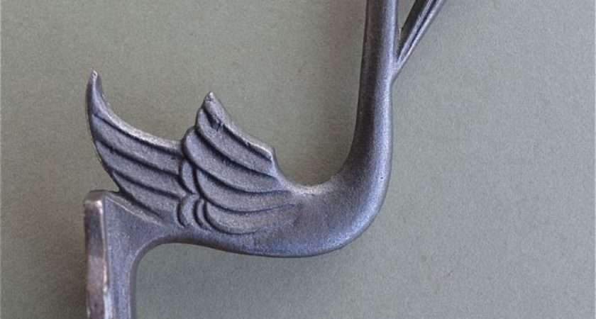 Beautiful Arts Crafts Stork Hook Double Cast Iron Coat