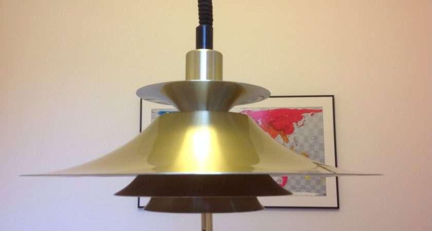 Beautiful Danish Retro Rise Fall Gold Brass Lamp Haute Juice