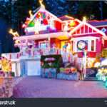 Beautiful Home Decorated Lighted Christmas New