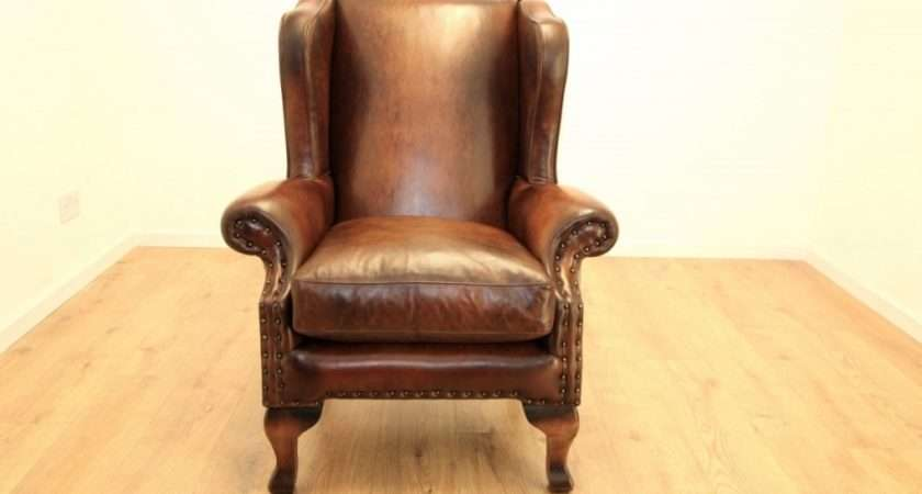 Beautiful Leather Winged Armchair Merciarescue