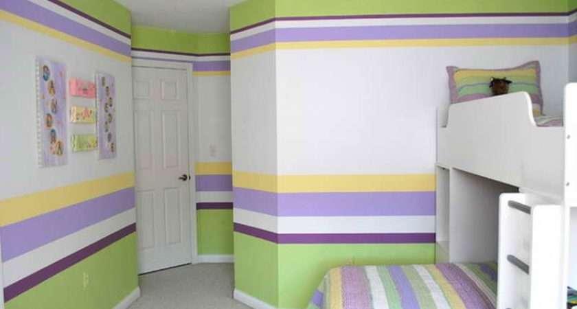 Beautiful Painting Horizontal Stripes Kids Bedroom