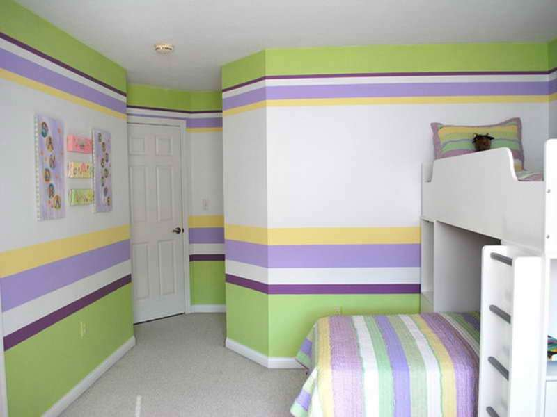 Beautiful Painting Horizontal Stripes Kids Bedroom