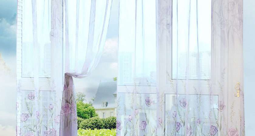 Beautiful Pastoral Floral Tulle Curtains Window Decoration