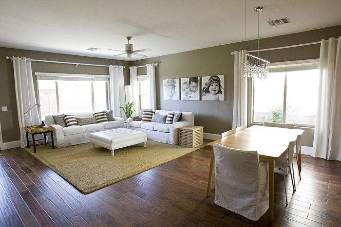 Beautiful White Taupe Living Room Dining Combo